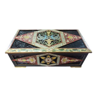 Circa 1890 French Cloisonne and Pressed Amber Gilt Brass Jewelry Box For Sale