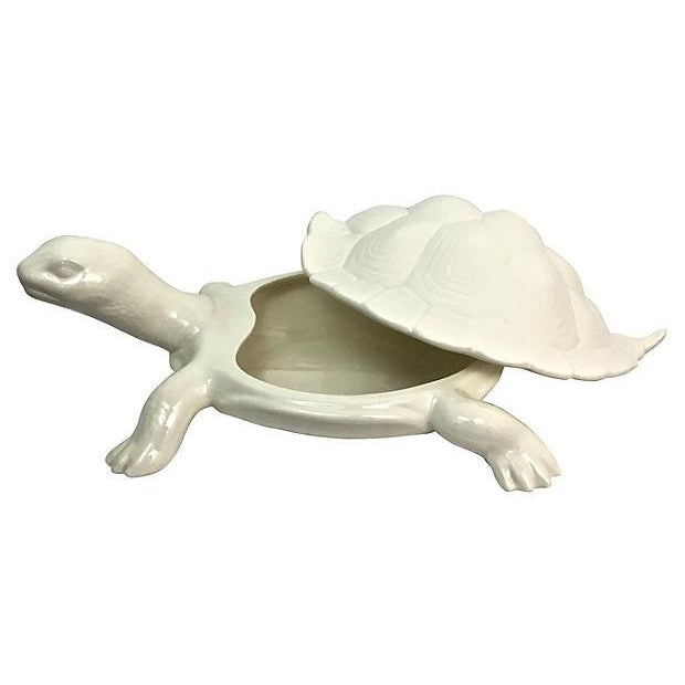 Hand-Cast Ceramic Turtle Bowl With Shell Lid - Image 5 of 9