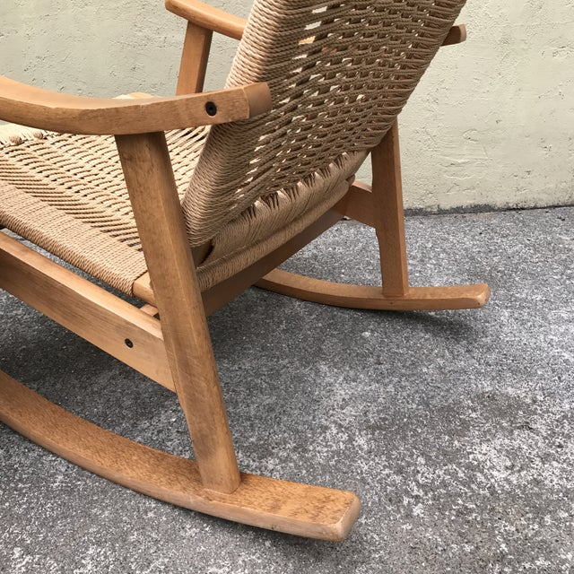 Hans Wegner Style Rocking Chair & Ottoman - A Pair - Image 10 of 11