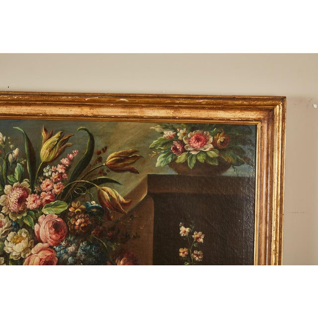 Oil Paint Pair of 19th Century Italian School Still Life Large Oil-On-Canvas Painting within a Giltwood Frame For Sale - Image 7 of 10
