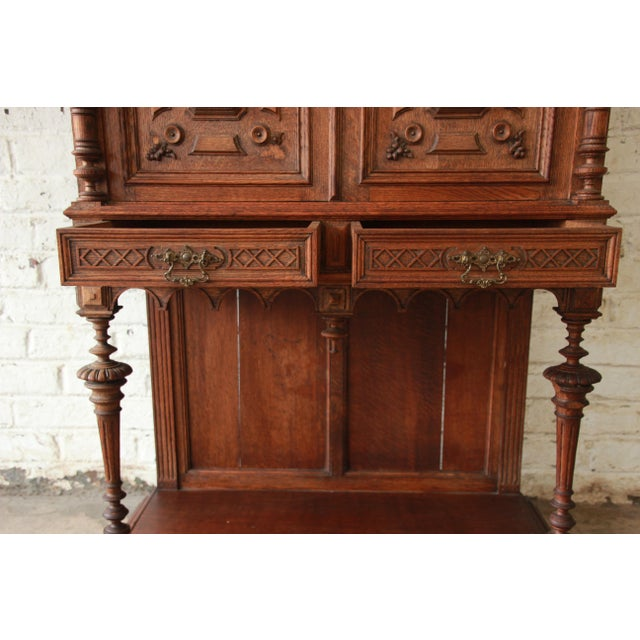 Wood Antique Carved Oak Tall French Bar Cabinet For Sale - Image 7 of 13