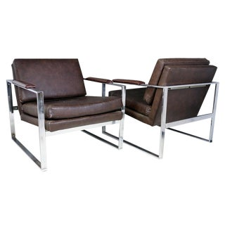 Milo Baughman Leather Lounge Chairs - A Pair For Sale
