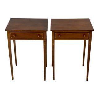 Vintage Mahogany Inlaid Federal Side Tables - Pair For Sale