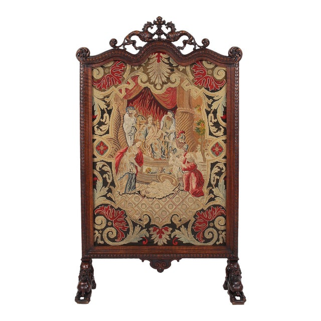 19th C. Carved Walnut Fireplace Screen With Tapestry For Sale