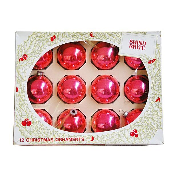 Shiny Pink Christmas Ball Ornaments - Set of 12 - Image 4 of 4