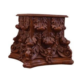 Vintage Neo-Classical Corinthian Capital Pedestal Side Table For Sale