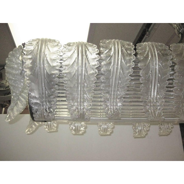 Metal Very Large and Long Barovier E Toso Handblown, Frosted Glass Rectangular Chandelier For Sale - Image 7 of 10