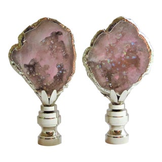 Pink Lilac Gemstone Finials in Silver, Black Box Collections by C. Damien Fox - a Pair For Sale