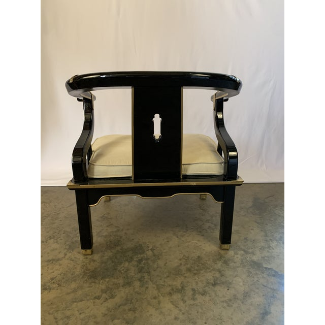 Century Furniture James Mont-Style Suede and Lacquer Horseshoe Lounge Chair by Century Furniture For Sale - Image 4 of 11