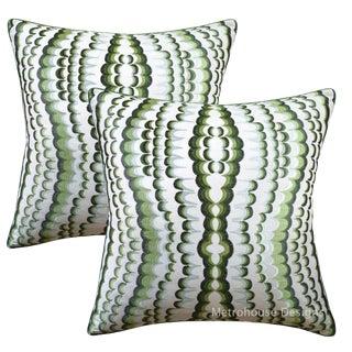 Sacramento Green Embroidered Viscose Spun Designer Pillows - Set of 2 For Sale
