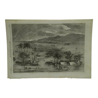 """1856 Antique """" View of a Branch of the Ganges - Near Rajmahal"""" The Illustrated London News Print For Sale"""