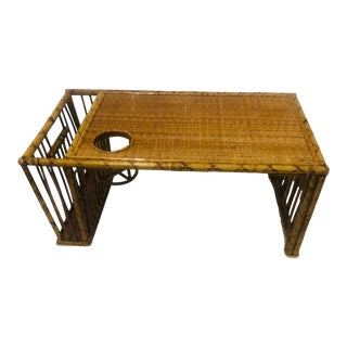 Vintage Bamboo Bed Tray with Cupholder For Sale