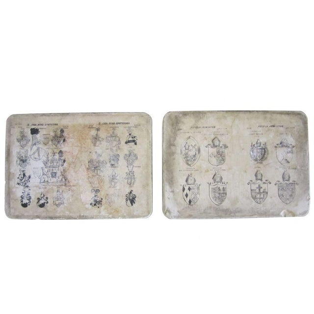 Mid 20th Century Printed Crests Stone Blocks - Set of Two For Sale - Image 5 of 5