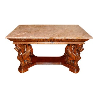 Vintage Renaissance Style Wood Carved Winged Griffin Table and Pink Granite Top For Sale