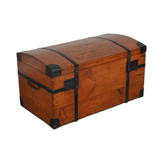 Antique Dom Top Dovetailed Blanket Chest With Iron Straps For Sale