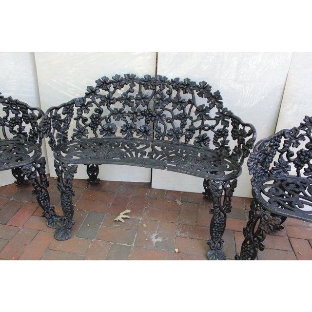 Antique Victorian Cast Iron Grape Vine Garden Set - 3 Pieces For Sale - Image 4 of 7