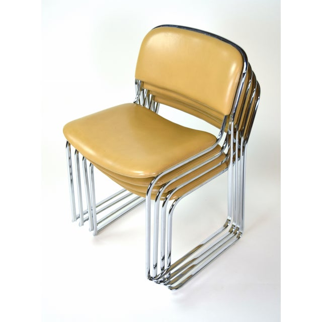 1980s Vintage Stacking Leather and Chrome Chairs by Thema- Set of 4 For Sale - Image 4 of 11