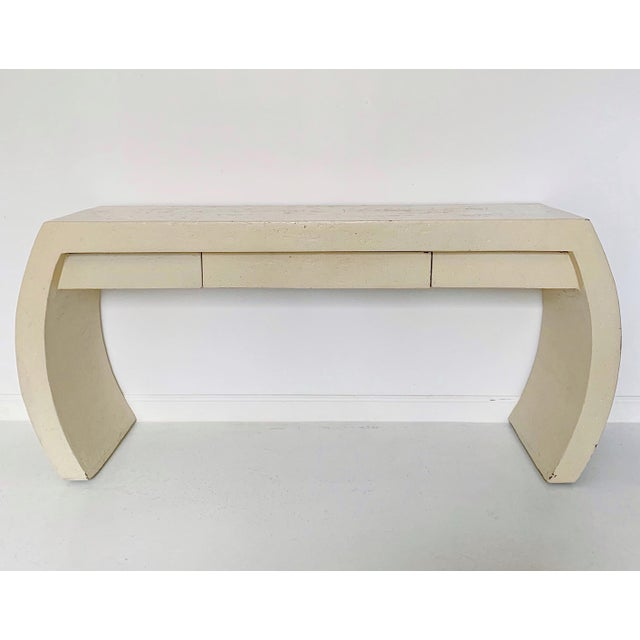 Wood 1980s Contemporary Waterfall Plaster Console Table With Drawer For Sale - Image 7 of 11