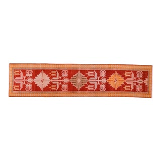 """1950s Boho Chic Red and Orange Wool Kurdish Runner - 2'11""""x12'10"""" For Sale"""