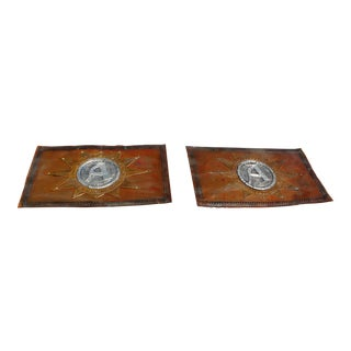 1900s Antique French Hand Hammered Copper Signs- A Pair For Sale