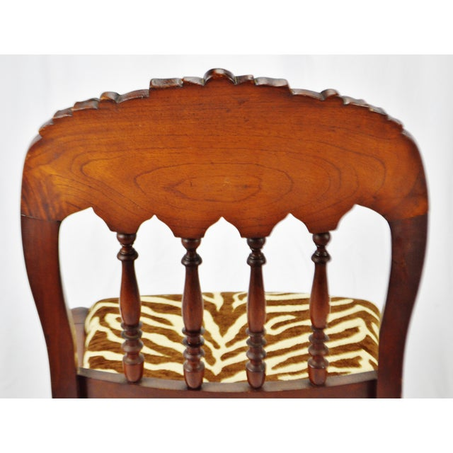 Vintage Victorian Style Side Chair With Animal Print Cushion For Sale - Image 9 of 13