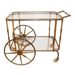 Italian Walnut and Brass Bamboo Bar Cart For Sale
