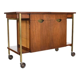 Heritage Vintage Mid Century Modern Walnut & Cane Rolling Bar Cart or Cocktail Cart For Sale