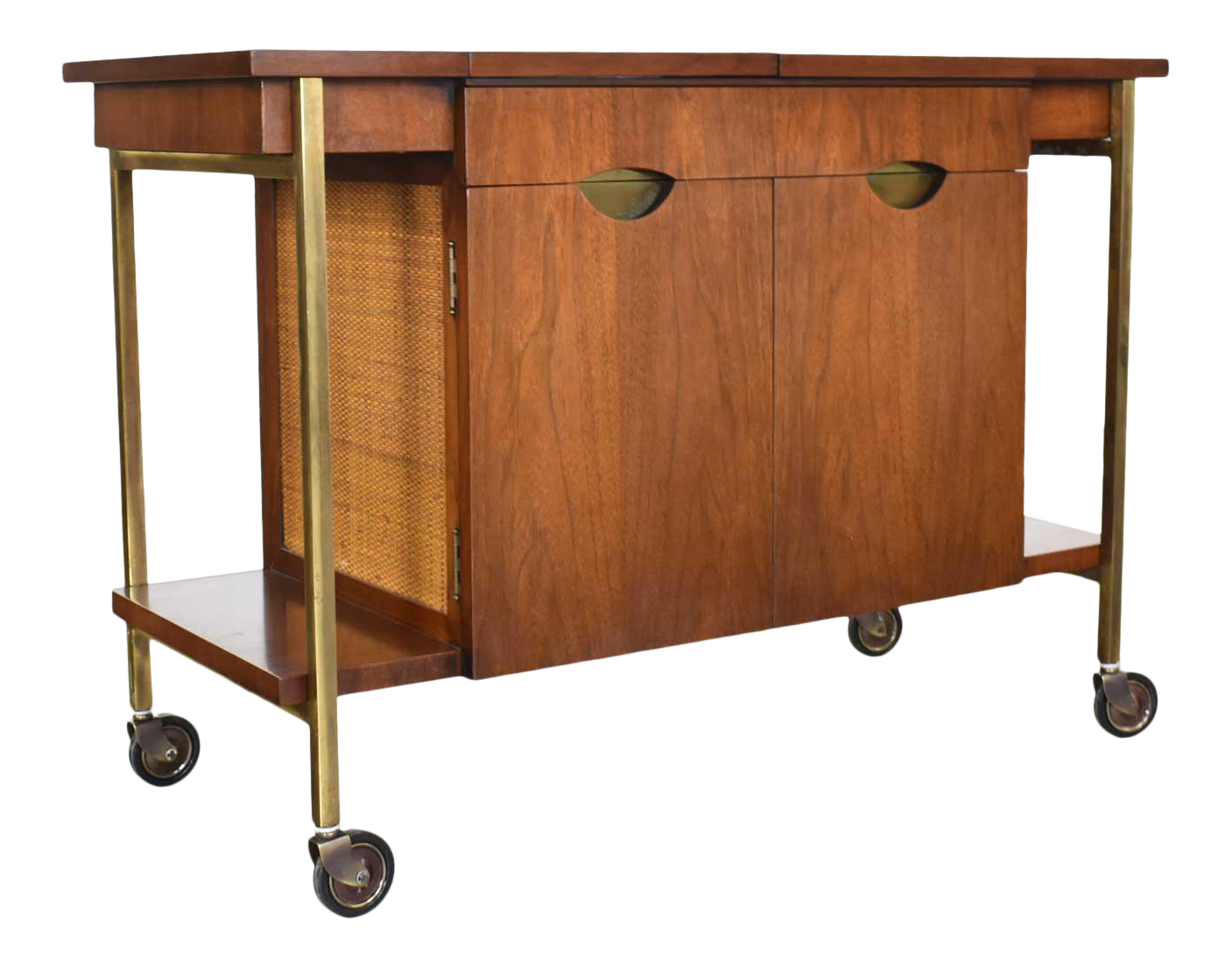 Picture of: Heritage Vintage Mid Century Modern Walnut Cane Rolling Bar Cart Or Cocktail Cart Chairish