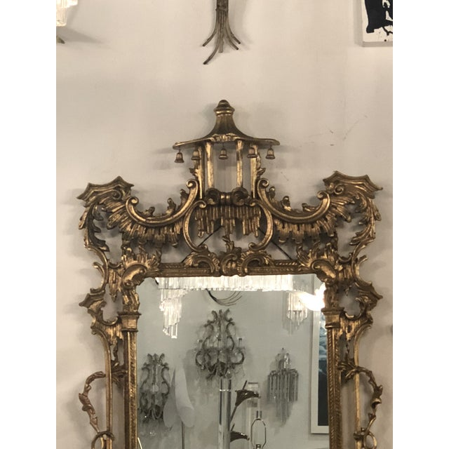Labarge Vintage Chinoiserie Italian Labarge Carved Wood Pagoda Bells Wall Mirror For Sale - Image 4 of 13
