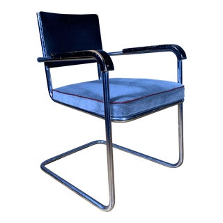 1940s Vintage Tubular Chrome Cantilever Armchair For Sale