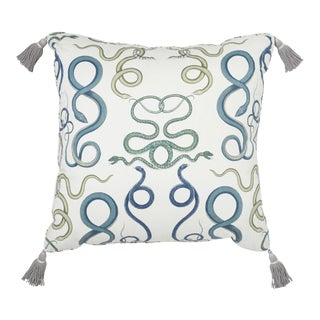 "Schumacher Charlap Hyman & Herrero 31"" Square Giove Pillow With Tassels in Emerald Sapphire For Sale"