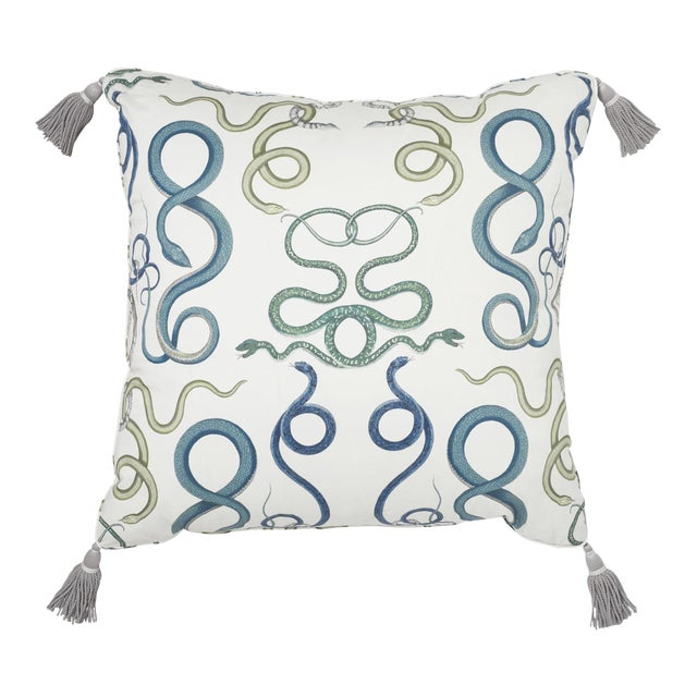 """Schumacher Charlap Hyman & Herrero 31"""" Square Giove Pillow With Tassels in Emerald Sapphire For Sale"""