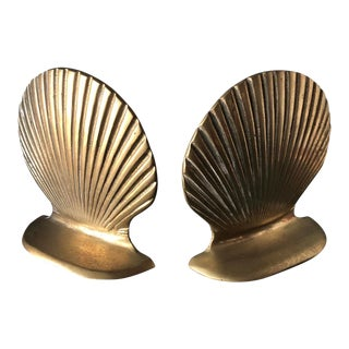 1970s Brass Seashell Bookends - a Pair For Sale