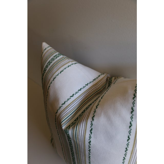Embroidered Green Stripe Pillow - Image 3 of 4