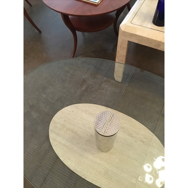 Mario Bellini for Cassina Travertine and Chrome Coffee Table with Glass - Image 9 of 9