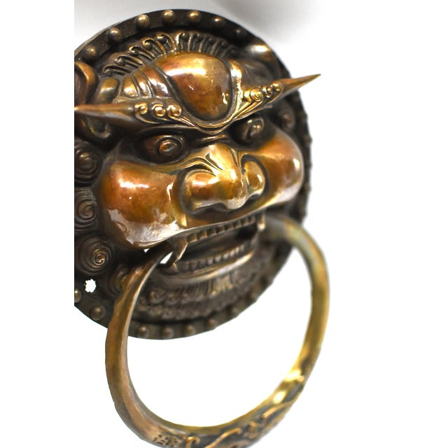 Late 20th Century Vintage Dragon King Motif Brass Door Knockers- a Pair For Sale - Image 11 of 13