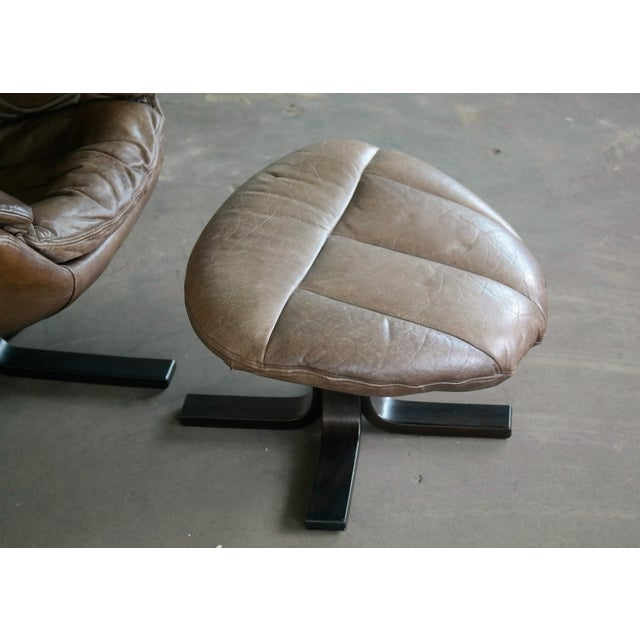 Danish Mid-Century Brown Leather Egg Chair with Ottoman by H. W. Klein For Sale - Image 11 of 13
