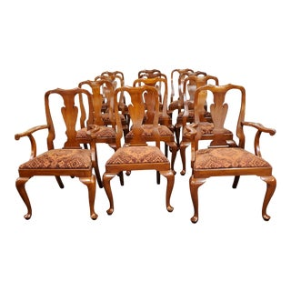 Henkel Harris Wild Black Cherry Queen Anne Style Dining Chairs, Model 110a - Set of 12 For Sale