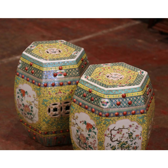 Asian Mid-20th Century Chinese Porcelain Garden Stools With Floral and Foliage - a Pair For Sale - Image 3 of 9