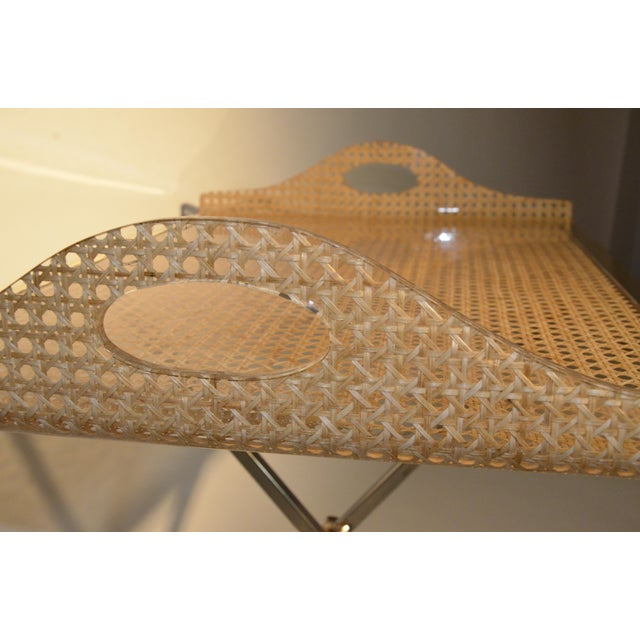 Mid Century Modern Gabriella Crespi Style for Dior Home Resin Covered Wicker & Brass Butler's Tray on Chrome Stand - Image 4 of 12