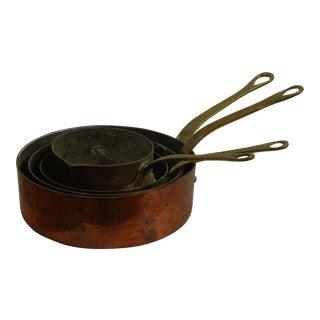Small Antique Copper Pots - Set of 4