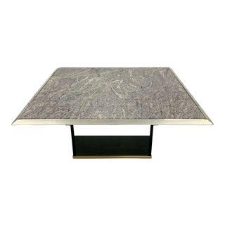 Mid Century Travertine Chrome and Glass Coffee Table For Sale