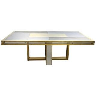 Sinopoli 1970s Italian Brass Satin & Chrome Geometric Large Dining / Hall Table For Sale