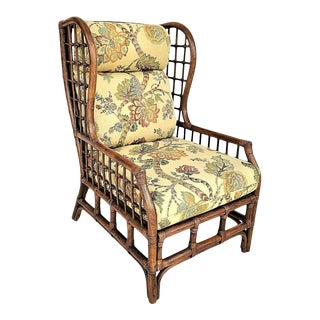 Vintage Wingback Bamboo Bentwood Rattan Lounge Chair For Sale