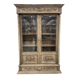 19th Century French Bleached Oak Bibliotheque For Sale