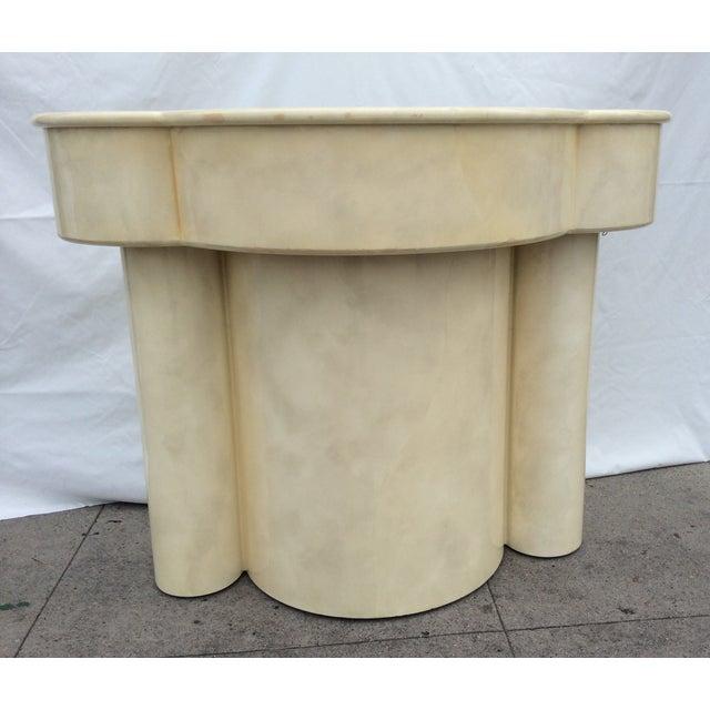 Vintage 1970s Faux Parchment Console Table - Image 4 of 11