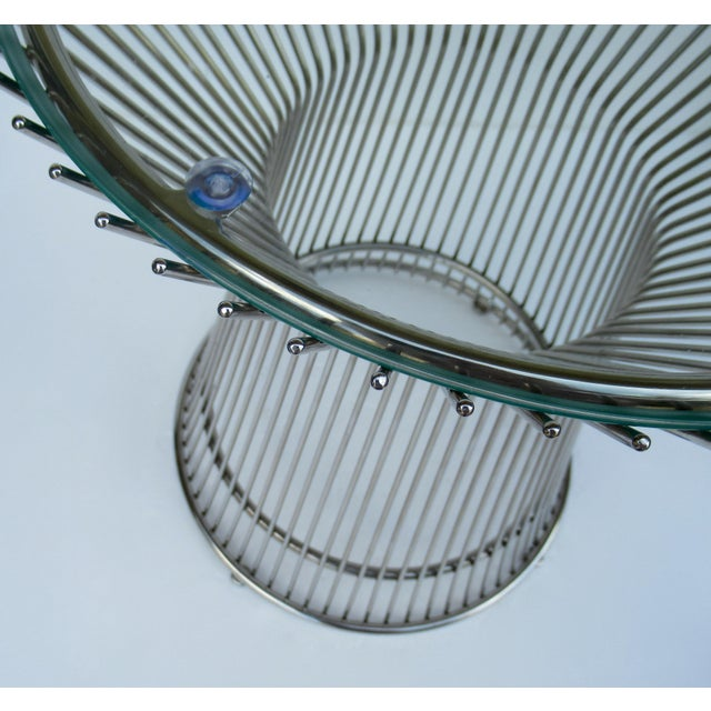 Warren Platner-Style Polished Steel and Glass Round Accent, Side Table For Sale - Image 10 of 13