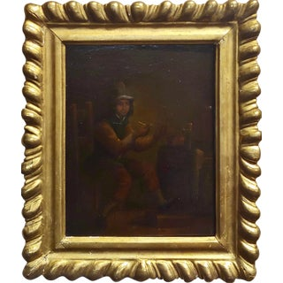 18th Century Flemish Oil Painting- Gentlemen Lighting a Pipe For Sale