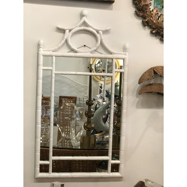 Asian Vintage Hollywood Regency White Lacquered Faux Bamboo Pagoda Wall Mirror For Sale - Image 3 of 9