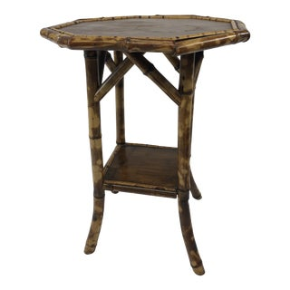 Mid Century Boho Chic Bamboo Octagon Side Table For Sale